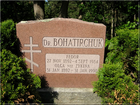 Grave of Fedor Bohatirchuk and his wife Olga née Zykina