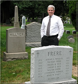 Martin Hillyer at the grave of his forefathers