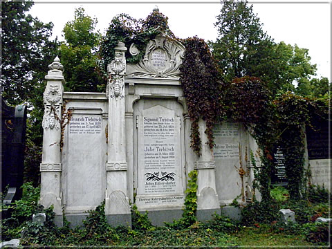 "Grave of the Trebitsch family; Leopold Trebitsch is ""eternalized"" top right"