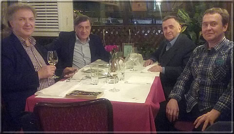 From left: A friend and ex-student of Dušan Drajić (the latter was the mentor for his M.Sc. thesis), Ljubomir Ljubojević, Dušan Drajić and Dusan's son Dejan