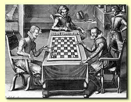 Duke August Junior (on the right) playing chess (copperplate engraving from his chess book)