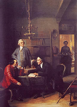 Moses Mendelssohn (on the left) and Johann Kaspar Lavater playing chess. Lessing is watching.  (Painting by Moritz Daniel Oppenheim, 1856)