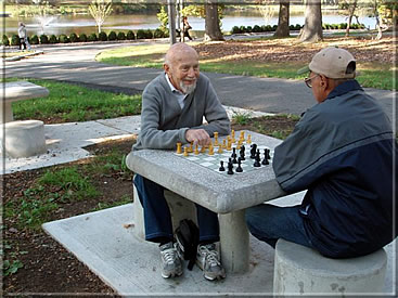 Kurt Landsberger and friend inaugurating the chess tables in Verona Park